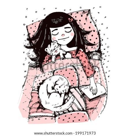 sleeping girl in pink color