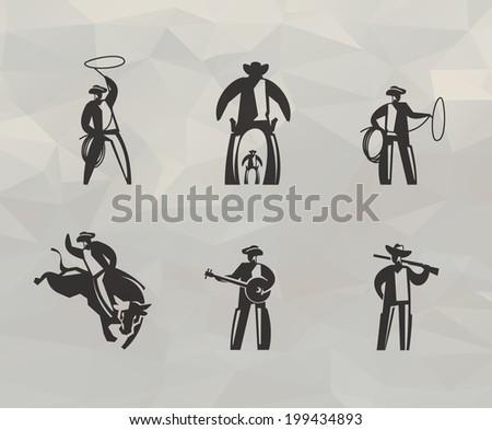 cowboy icons vector format