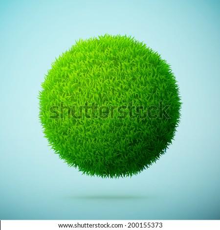 green grass sphere on a blue