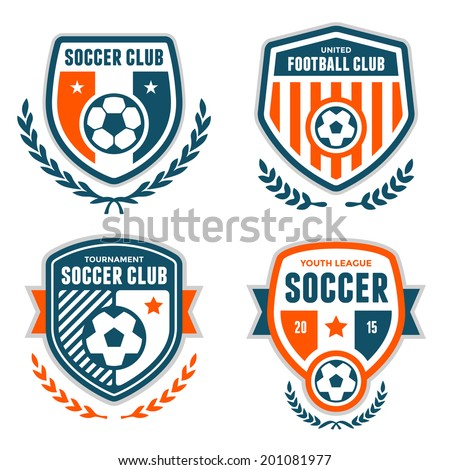set of soccer football crests