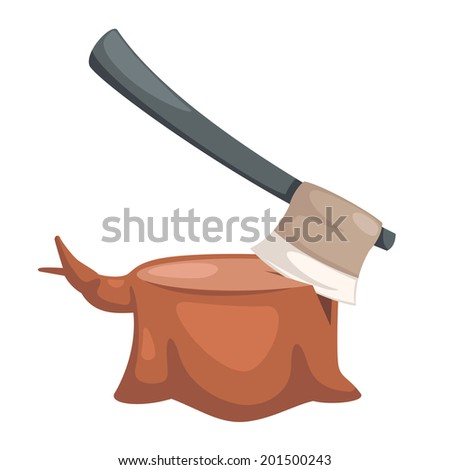 illustration of axe stuck vector