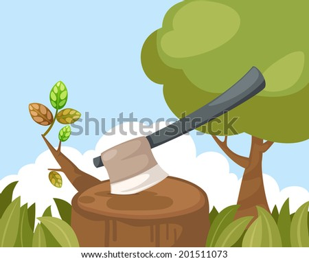 illustration of an axe stuck in
