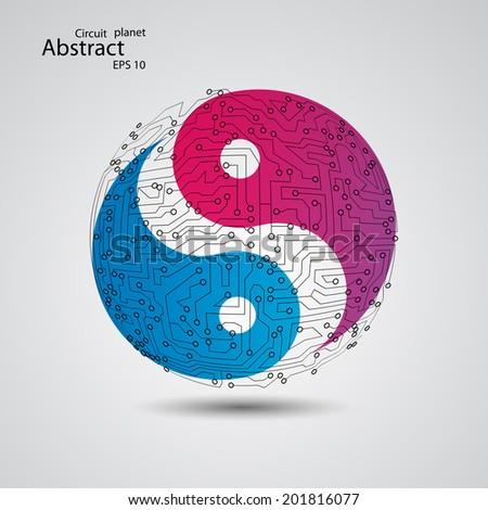 planet yin yang  vector eps10