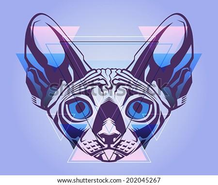 creative illustration of a cat