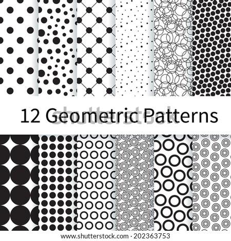 12 geometric polka dot