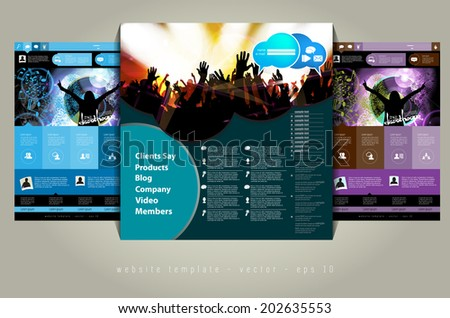website layout with music event