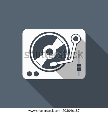 turntable icon with long shadow
