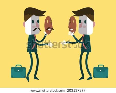 fake businessmen wearing smile