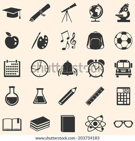vector set of 25 black school