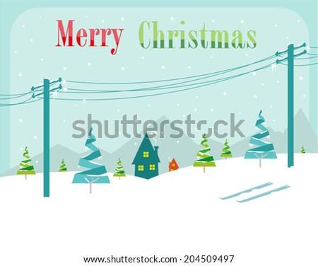 snowy christmas concept vector
