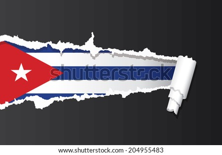 flag of cuba under ripped paper