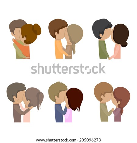 beautiful couple kissing set