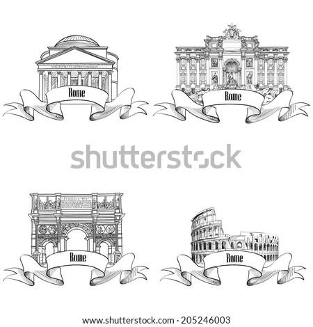 rome city symbols sketch