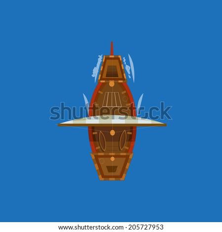 sailing ship top view vector