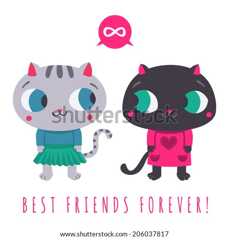 best friends forever cute gray