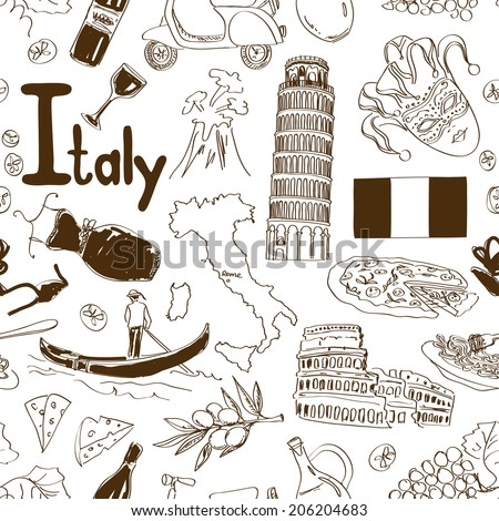 fun sketch italy seamless