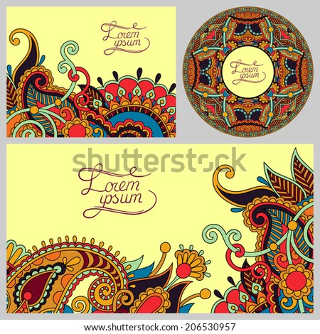 set of floral decorative