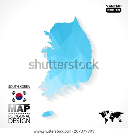 south korea map geometric