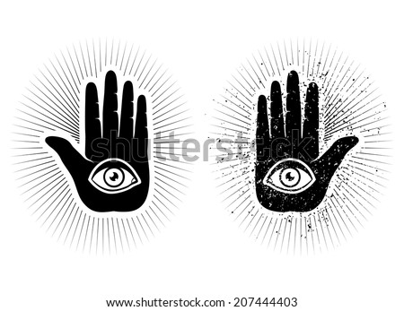 set icons of hand and eye