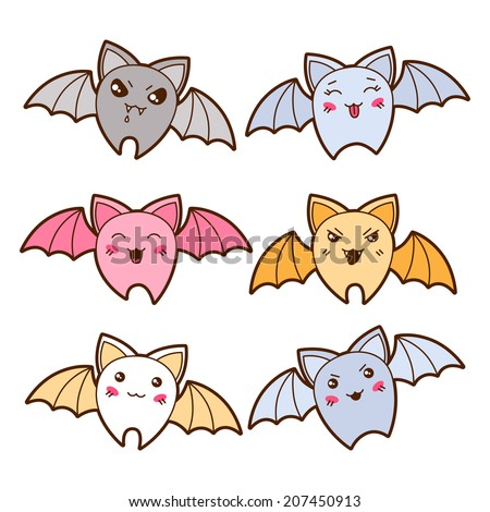 set of kawaii bats with