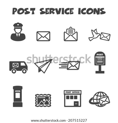 post service icons  mono vector