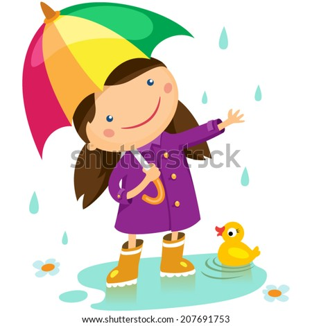 girl with an umbrella standing