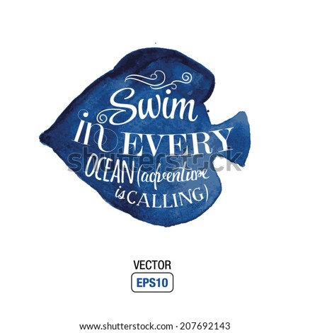 vector quote about ocean   swin