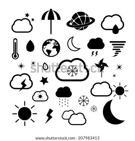 weather symbol set on white