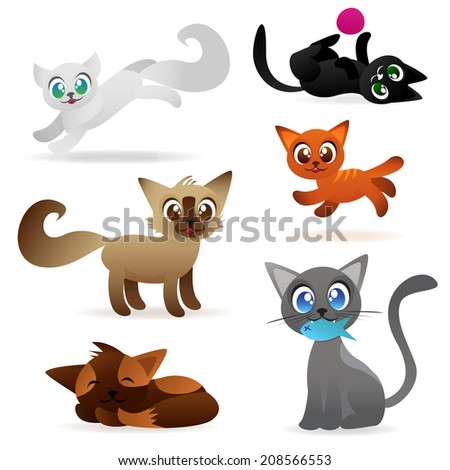 set of cute cartoon cat vectors
