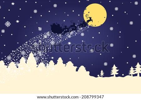 silhouett santa claus sleigh