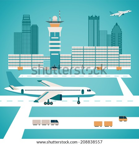vector airport concept with