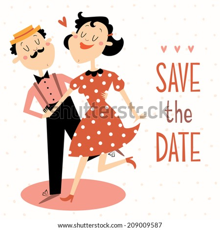 save the date vector card with