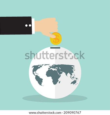 businessman hand with a coin