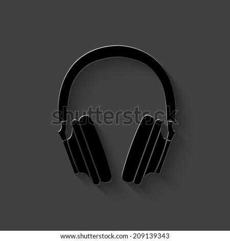 headphones icon   black vector