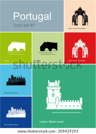 landmarks of portugal set of