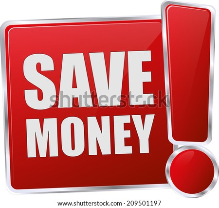 modern red save money button