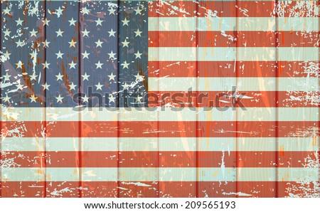 vintage american flag on fence