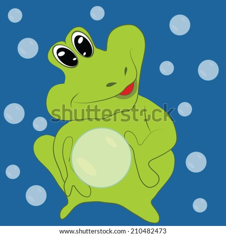 cheerful green frog water