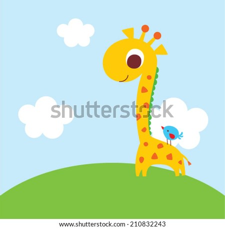 cute giraffe and bird