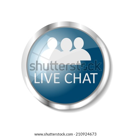 live chat blue  button or icon