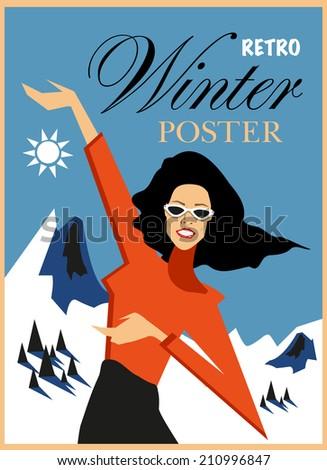 happy retro woman winter poster
