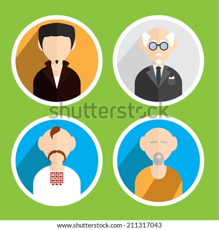 vector colorful flat avatar set