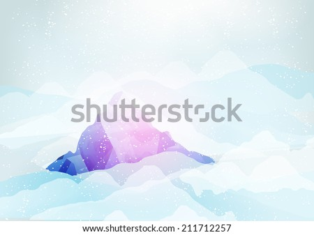 snowy mountains peak with