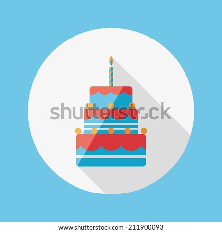 birthday cake flat icon with