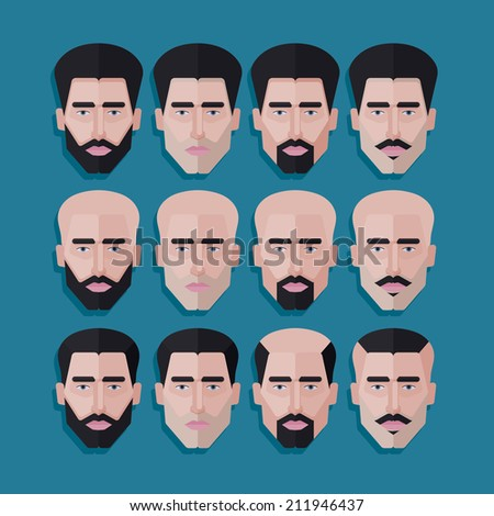 vector set of male faces in