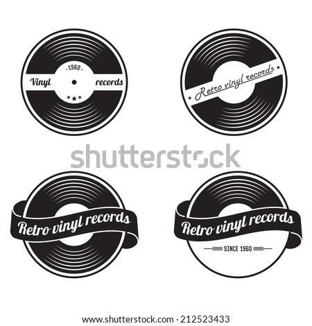 retro vinyl records emblem