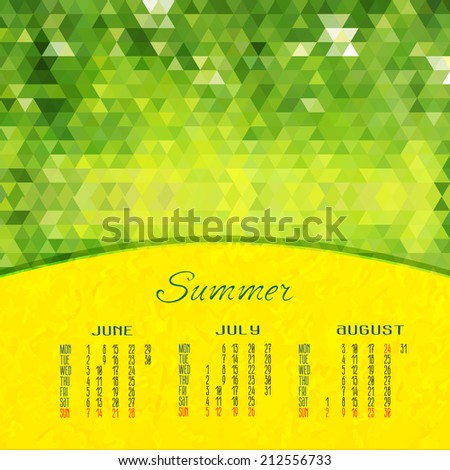summer vector calendar for