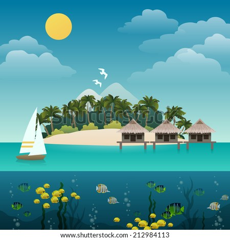 tropical island sea view with