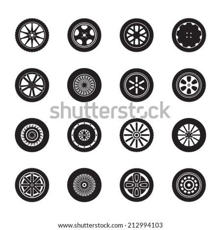 car wheels icon set