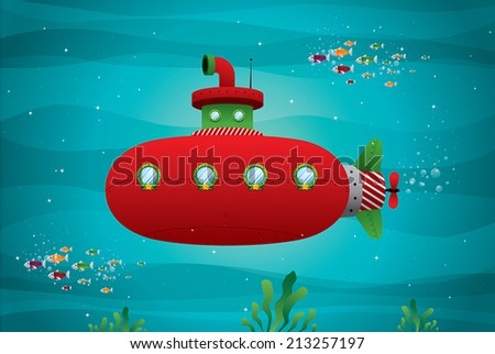 red submarine in the ocean